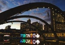 Toronto nathan philips square sunset